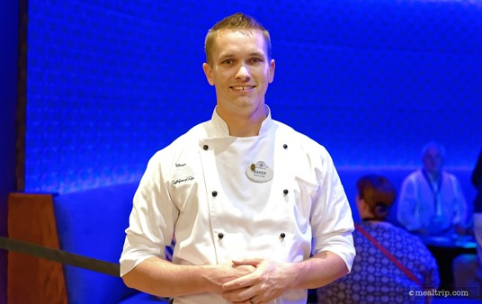 """Chef Baker from """"the Wave of American Flavors"""" created the first course dish at the Highway in the Sky Dine Around event."""