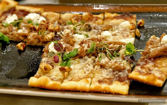 Even under all those keep-warm lamps, the Duck Confit Flatbread with Red Onion Jam, Laura Chenel Goat Cheese and Candied Pecans looks amazing!