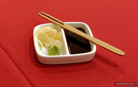A cute little side-car of Pickled Ginger, Soy and Wasabi was available for your sushi selections.