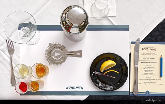 "Here is the set up for a ""Mix It with Whiskey!"" demo. This is everything you need to make a Templeton Scofflaw cocktail. Each guest has their own place setting and everyone gets to follow along with the presenter."