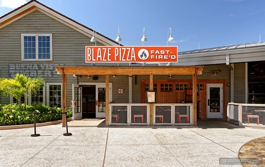 The main entrance to Blaze Pizza at Disney Springs.