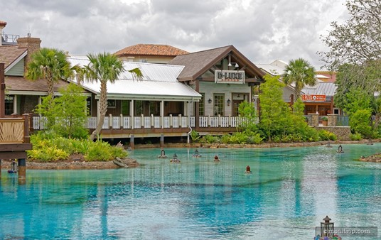 D-Lux Burger, as seen from across the blue waters of Disney Springs.