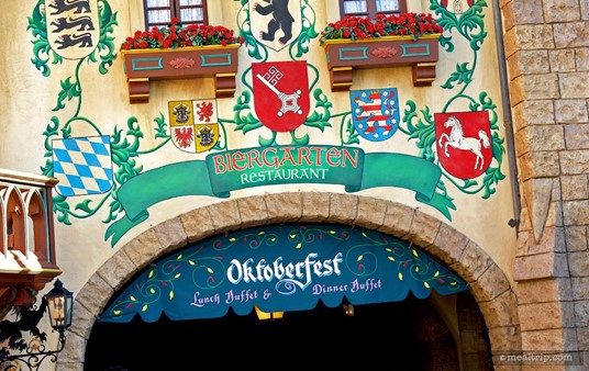 The Biergarten Restaurant artwork on the outside wall, looking south into the German pavilion.