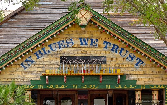 Exterior photo of the motto above the entrance at the House of Blues at Disney Springs.