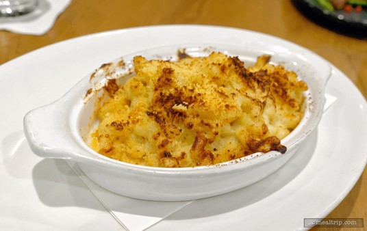 """There are around 8 different """"Sides to Share"""" on the menu. This is the Mac n' Cheese Side. There's enough here for three or four guests to get a small sample of the dish."""