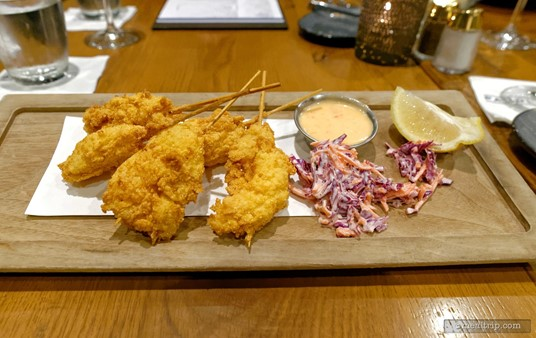 These are the Lobster Corn Dogs from the Starters section of the Paddlefish menu. They were served with a small amout of purple cabbage slaw and a sweet chili aioli.