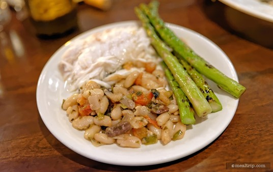 "The Cannellini Bean Ragout was quite good as well... and you should definitely give it a try, even if you don't like beans. The bean texture wasn't really ""mealy"" at all, and the mix of onion, garlic, peppers, and capers gave the Ragout an amazing flavor profile!"