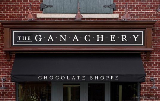 The Ganachery Chocolate Shoppe sign is just above the main entrance to the small shop.