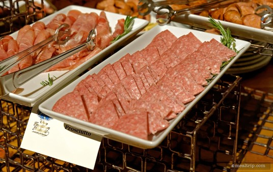 Here's a closer look at some of the meats available at the charcuterie station.