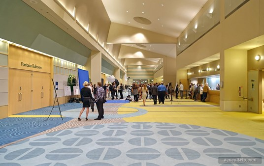 Looking west down the Fantasia Ballroom Lobby hallway. From this perspective, the doors to the main event space are on the left.