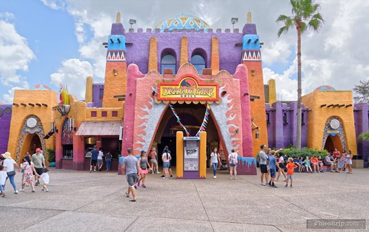 Walking up to the Dragon Fire Grill at Busch Gardens. The colorful walls fit nicely into the themed Pantopia area of the park.