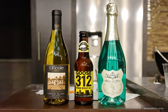 Here's the three bottles from the September 17th Tailgate Tasting event... from left to right; L'Ecole No. 41 Chenin Blanc Old Vines, Goose Island 312 Urban Wheat Ale, and Bleu Spectrum's Blanc de Bleu Cuvee Mousseux. (September 17th, 2018 event.)