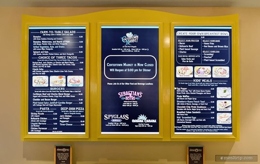 Here's a close-up shot of the menu board. (2019)