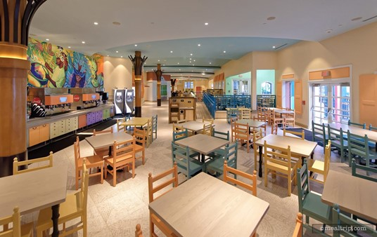 The dining area at Centertown Market is longer than it is wide. This angle offers a good view of the soda and beverage stations on the left-hand side.