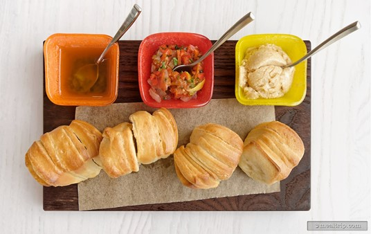 The Caribbean Pull-apart Rolls come with three accompaniments to sample, (from left to right), Jamaican Jerk Oil, Onion Jam, and Guava Butter.