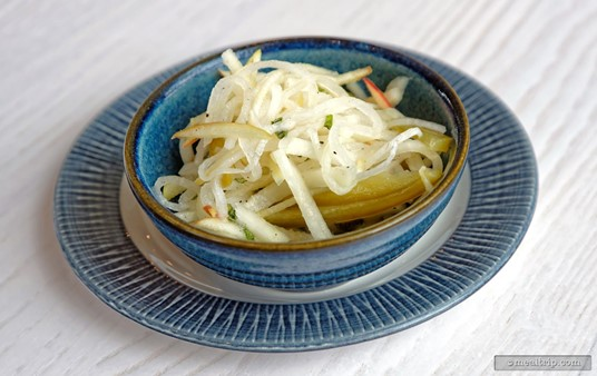 The side dishes are very cool looking at Sebastians Bistro. This is a side of Jicama Slaw.