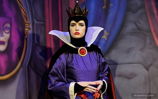 "The Evil Queen at Artist Point's Storybook Dining. ""Vinyl, vinyl on the wall""... oh never mind."