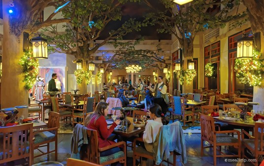 A pull back shot of the main dining area at Storybook Dining.