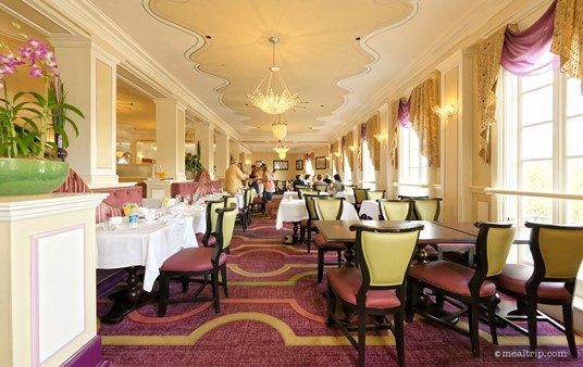 """The seating area that everyone seems to want at  Monsieur Paul's is the """"window-side"""". These north-east facing tables get unique (slightly obstructed) view of Illuminations at the end of the evening."""
