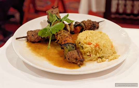 The Shish Kebab at Restaurant Marrakesh is grilled beef with mixed vegetables and yellow rice.