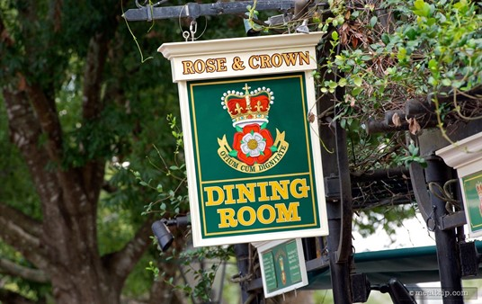 Rose and Crown's sign above the check-in area outside the restaurant.