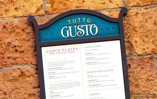 Menu outside the Totto Gusto Wine Cellar.