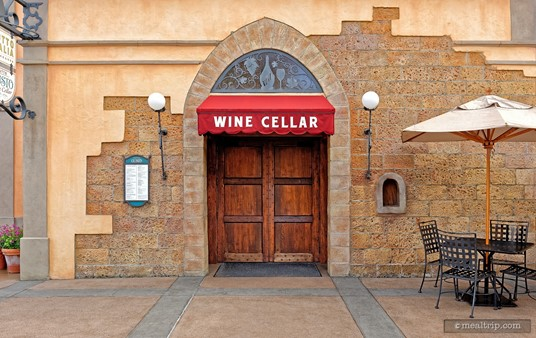 Inside these doors are over 200 bottles of Italian wines. This is the main entrance to the Tutto Gusto Wine Cellar in Epcot's Italy Pavilion.