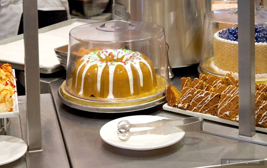 Although this bunt cake under glass is plastic, pre-cut versions of the 