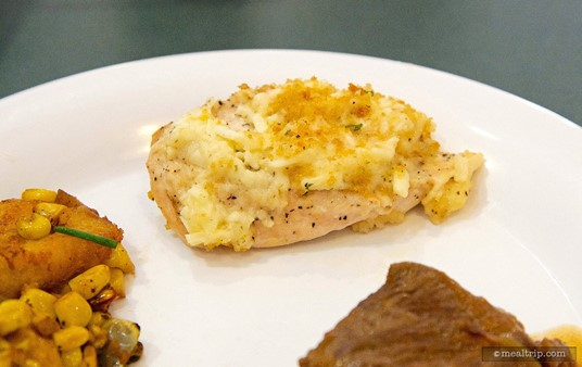Plated Asiago Chicken from Hollywood and Vine's Lunch buffet.