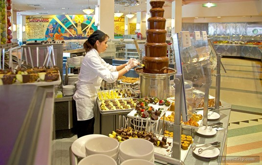 Chocolate fountain station at Hollywood and Vine.