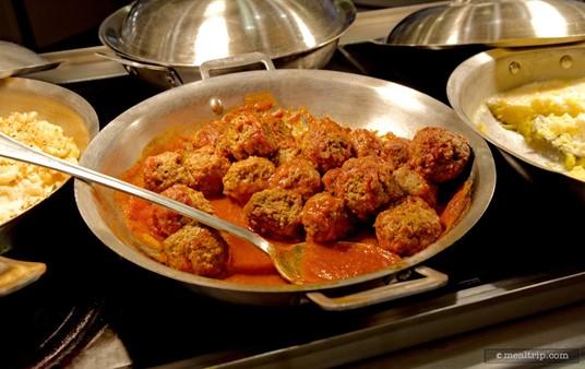 Meatballs with marinara sauce.