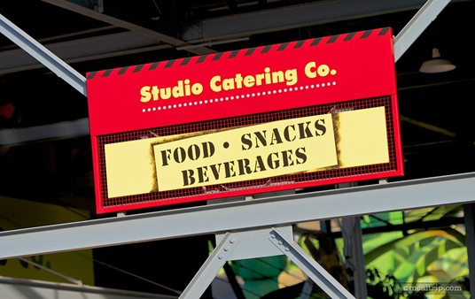 One of the many signs above the Studio Catering Company's seating area.