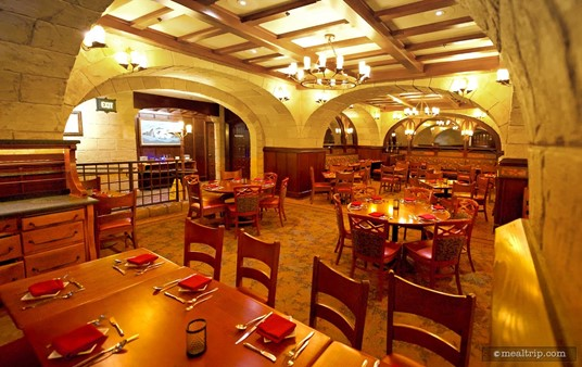 Le Cellier dining area looking in the direction of the main entrance hallway.