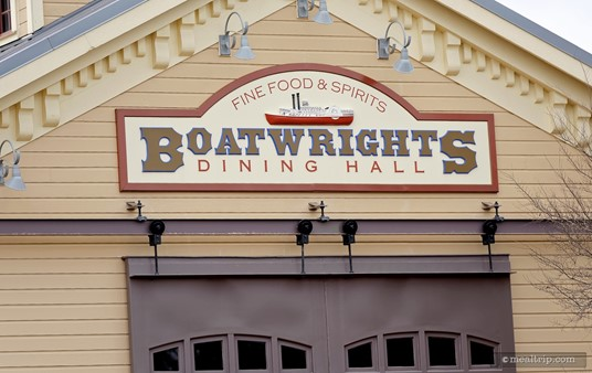 The exterior sign for Boatwrights Dining Hall. Unfortunately, the giant barn doors are for show only. We think it would be neat if they actually opened and closed (although I guess you would loose quite a bit of air conditioning).