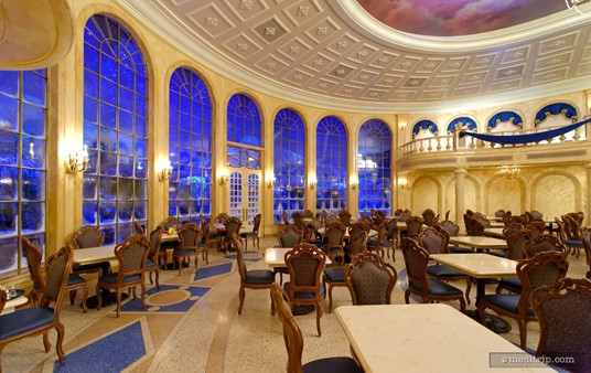 """The """"snow windows"""" in the main dining hall, at the back of the Be Our Guest Restaurant."""