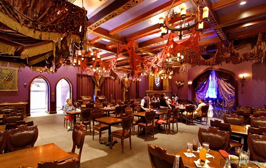 """Be Our Guest's """"West Wing"""" looking across the dining area to where the """"master's"""" portrait is located."""