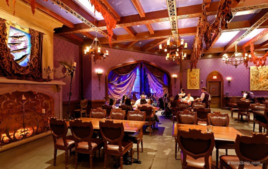 """Looking across the dining area of Be Our Guest's """"West Wing""""."""