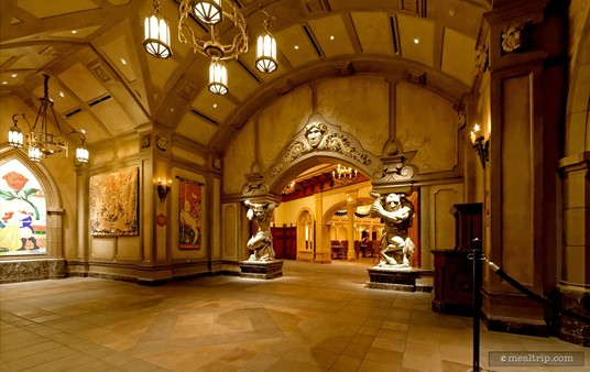 The foyer at Be Our Guest, leading into the main dining hall.