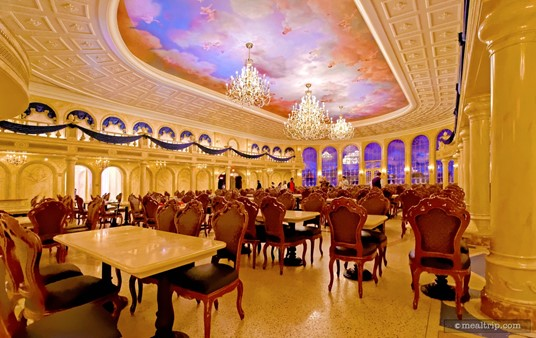 The main dining hall in the Be Our Guest Restaurant.