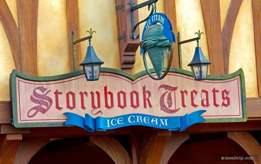 The Storybook Treats sign, above the order/pick-up windows.