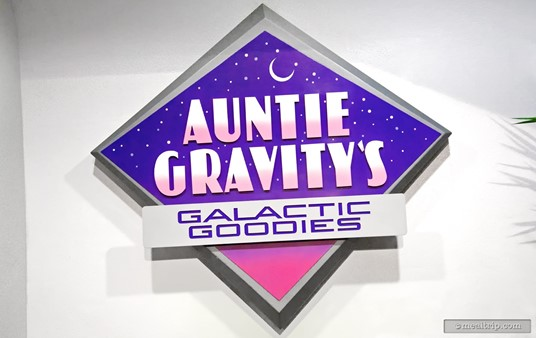 Outside sign for Auntie Gravity's Galactic Goodies.