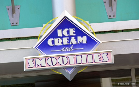 """This """"Ice Cream and Smoothies"""" sign seems to draw more attention than the actual """"Auntie Gravity's"""" sign, which is a bit hidden."""