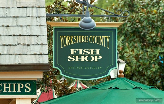 Sign over the Yorkshire County Fish Shop, looking south.