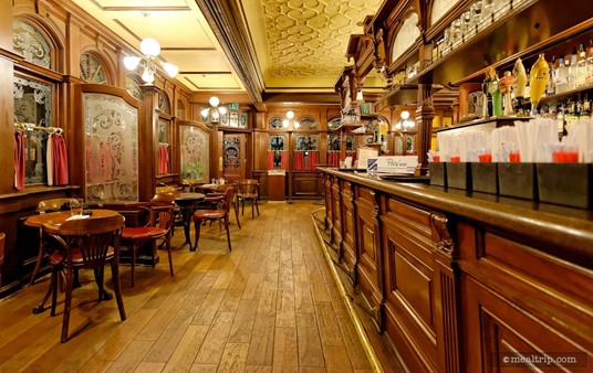 Looking north down the main counter and limited seating area in the Rose & Crown Pub.