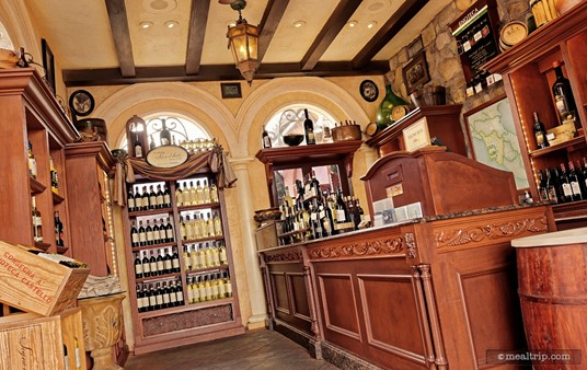 The quaint (i.e., small) Enoteca Castello in Epcot's Italy Pavilion is sometimes mistaken for a shop where you can buy bottles of Italian wine. It is that, but they also serve wines by the glass, and offer a couple of wine flights as well.