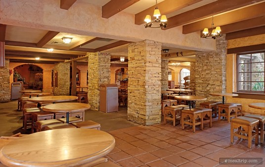 The seating areas at Pecos Bill's Cafe are somewhat compartmentalized. If all of the rooms are open, there is plenty of seating. Sometimes though, certain areas are roped off.