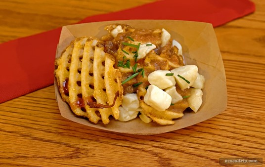 Brown Gravy and Cheese Waffle Fries from the Golden Oak Outpost at the Magic Kingdom.