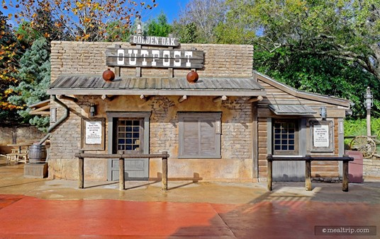 The authentic looking Golden Oak Outpost kiosk is located on the pathway  from Frontierland to Adventureland at the Magic Kingdom.