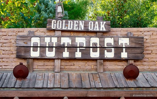 Sign above the old-west style Golden Oak Outpost eatery.