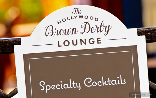 Small sign on the gate leading into the Brown Derby Lounge.